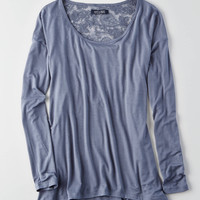AEO Lace Back Jegging T-Shirt , Light Blue