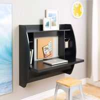 Modern Space Saving Wall Mounted Floating Laptop Desk in Black