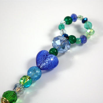 Peacock Crystal and Glass Bubble Wand,  Wedding Bouquet Favor, Magic, Fairy, Ringbearer,  blue, green, turquoise, Beaded Favor, glass