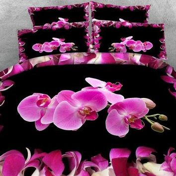 3D Pink Phalaenopsis Printed Cotton Luxury 4-Piece Black Bedding Sets/Duvet Covers