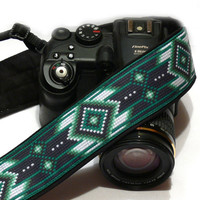 Native American Camera Strap (inspired). DSLR Camera Strap. Black and Green Camera Strap. Camera Accessories