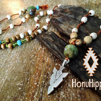 Native anerican arrowhead hippie necklace, boho chic jewelry