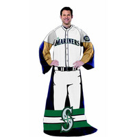 Seattle Mariners MLB Adult Uniform Comfy Throw Blanket w- Sleeves