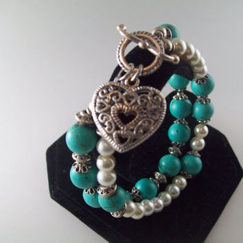 Turquoise and Pearl with Filagree Heart Bracelet