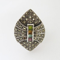 Vintage Art Deco Ring, Marcasite Sterling Silver Ring, Gemstone Inlay Ring, Size 7