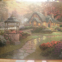 Thomas Kinkade house by a well with stone path, wall art, home decor free shipping USA