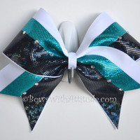 3 Wide Luxury Cheer Bow  Teal and Black by BowsWithAttitude