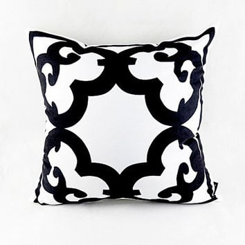 "18""*18"" Home Decor Designer Black White Abstract Geometric Floral Throw Cushion Cover Pillow Case for Chair Sofa Wedding Gifts"
