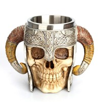 Viking Drinking Skull Mug Stainless Steel