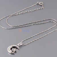Rigant 18K RGP Alloy Moon & Star Pendant Necklace