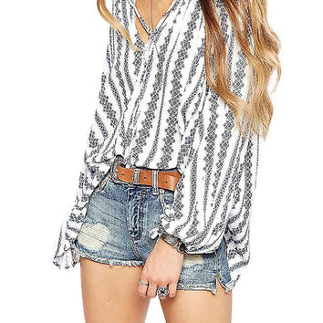 V Neck Printed Blouse in Chiffon