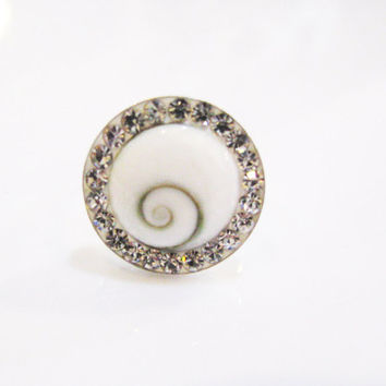 White Shell Ring, Shiva Eye Ring, Natural Shell Ring, Gemstone Adjustable Ring, Unique Shell Shiva, Silver Ring, Cz Sparkling Ring, 925 Ring