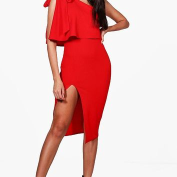 CeCe Bow Shoulder Detail Midi Dress | Boohoo