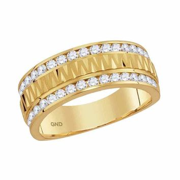 14kt Yellow Gold Mens Round Channel-set Diamond Grecco Textured Double Row Wedding Band Ring 1.00 Cttw