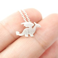 Classic Dragon Silhouette Shaped Pendant Necklace in Silver | Animal Jewelry