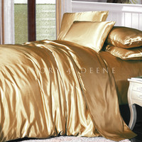 Luxury Gold Satin Doona Cover Bedding Set