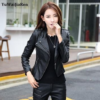 YuWaiJiaRen Fashion Women Leather Jacket 2016 Spring Autumn PU Motorcycle Clothing Female Green Leather Coat Plus Size 5XL