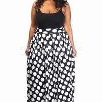 Plus Size Scuba Polka Dotted Maxi Skirt