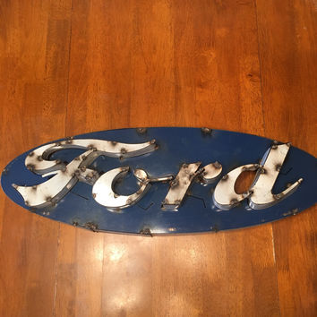 Ford Recycled Metal 3D Sign 8x24x4