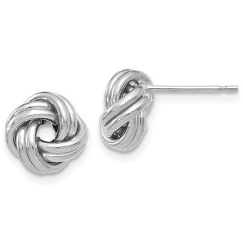 9.5mm (3/8 Inch) 14k White Gold Polished Love Knot Post Earrings