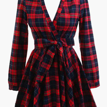 Plaid V-Neck Long Sleeve Pleated Mini Dress