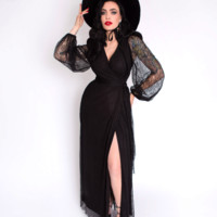 PRE-ORDER - The Black Widow Lace Wrap Gown