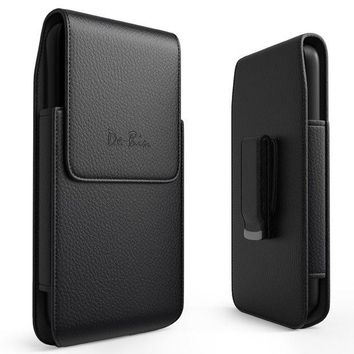 DCCK2JE iPhone 6 Plus 6s Plus 7 Plus 8 Plus Vertical Leather Belt Case Clip Holster Pouch Carrying Sleeve (Fits iPhone Plus with Otterbox Defender Case / Symmetry Case / Commuter Case / Lifeproof Case On)
