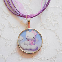 girls necklace - hello kitty necklace, Necklace for Girls, Kids Necklace, Purple Necklace , Children necklace