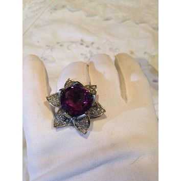 Vintage diamond flower with lab made Alexandrite color change stone 14 k Gold ring
