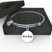"#beachlife Bangle With White Background - adjustable 8""-9"" - Engraving Available"