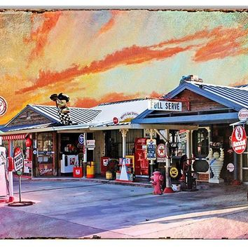 Nostalgic Texaco Full Service Gas Station Reproduction Sign 12″x18″