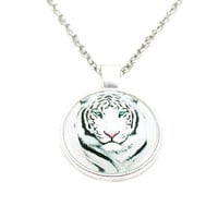 White Tiger Necklace, Picture Necklace, White Tiger Charm, Cabochon Necklace, Wildlife Necklace, White Tiger Jewelry, Photo Necklace
