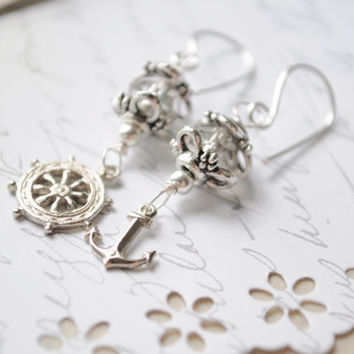 Nautical earrings  Silver and fire grey czech by littlejarofhearts