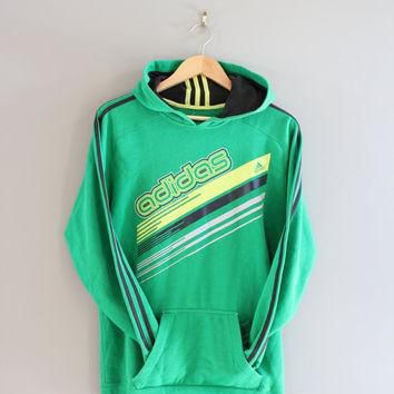 Adidas Hoodie Retro Green 3 Stripes Sweatshirt Fleece Lining Cotton Pullover Loose-fit
