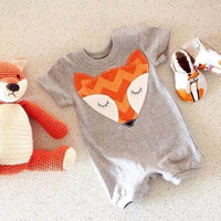 romper suit cotton fox