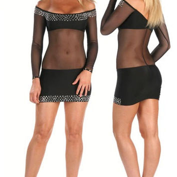 Sheer Mesh Mini Dress Rhinestone Adorement