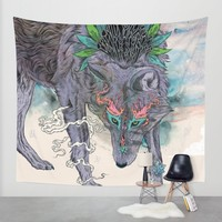 Journeying Spirit (wolf) Wall Tapestry by Mat Miller | Society6