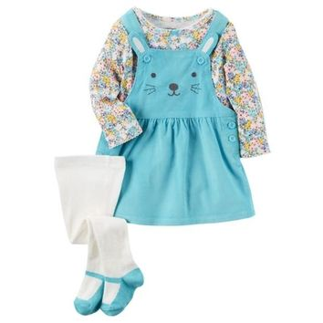 ONETOW Baby Girl Carter's Print Tee, Embroidered Corduroy Jumper & Tights Set