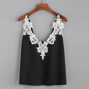 Chiffon Tank Top Women   Lace Loose Vest Top Sleeveless Casual Tank Tops Camisole Black #63 GS
