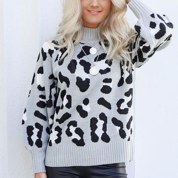 Give In Heather Gray Leopard Knit Sweater