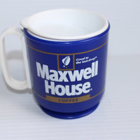 MAXWELL HOUSE COFFEE Travel Mug, Vintage 1980s Plastic Coffee Mug, refillable advertising mug, promotional cup, Travel coffee cup