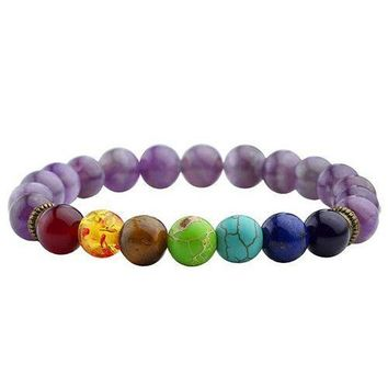 Chakra Bracelet Men Women Black Lava Healing Balance Beads Reiki Buddha Prayer Natural Stone Yoga Bracelet