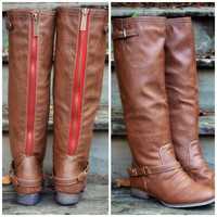 Montana Skye Tan Red Zipper Riding Boots