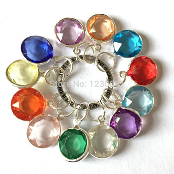 2015 new design 12mm  birthstone beads silver dangle  for floating charms dangle lockets