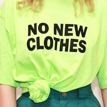 bright lime green os slogan shirt green color block no new clothes repurposed shirt ONE SIZE