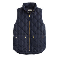 J.Crew Womens Excursion Puffer Vest In Pinstripe