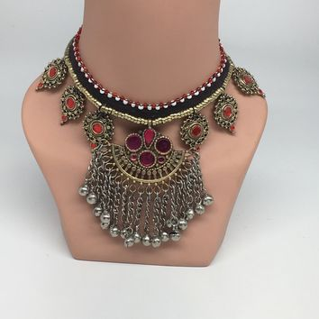 Kuchi Necklace Ethnic Afghan Tribal Pink/Red Color Glass Jingle bell Choker NK22