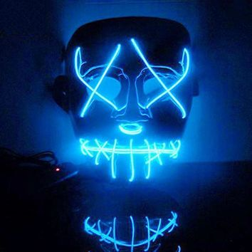 Halloween Mask LED Light Up Funny Masks Purge Election Year Great Festival Cosplay Costume Supplies Party Masks Glow In Dark A65