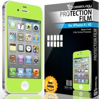 iPhone 4S Screen Protector, Caseology [HD Clarity] Apple iPhone 4/4S Screen Protector [2-Pack] [Lime Green] [3-Month Warranty] Color Film [Crystal Clear] Front Screen Protection iPhone 4/4S Screen Protector (for Apple iPhone 4/4S Verizon, AT&T Sprint, T-mo