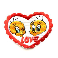 "Vintage Bootleg TWEETY BIRD heart Patch 3"" x 2.25"" Iron-on"